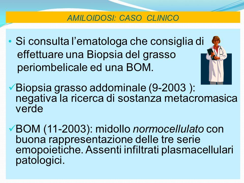 AMILOIDOSI: CASO CLINICO Si consulta lematologa che consiglia di effettuare una Biopsia del grasso periombelicale ed una BOM. Biopsia grasso addominal