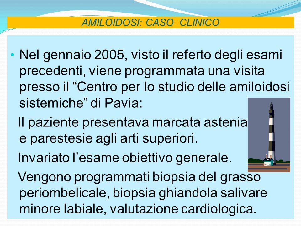 AMILOIDOSI: CASO CLINICO Nel gennaio 2005, visto il referto degli esami precedenti, viene programmata una visita presso il Centro per lo studio delle