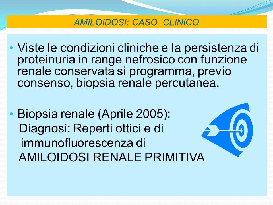 AMILOIDOSI: CASO CLINICO Viste le condizioni cliniche e la persistenza di proteinuria in range nefrosico con funzione renale conservata si programma,