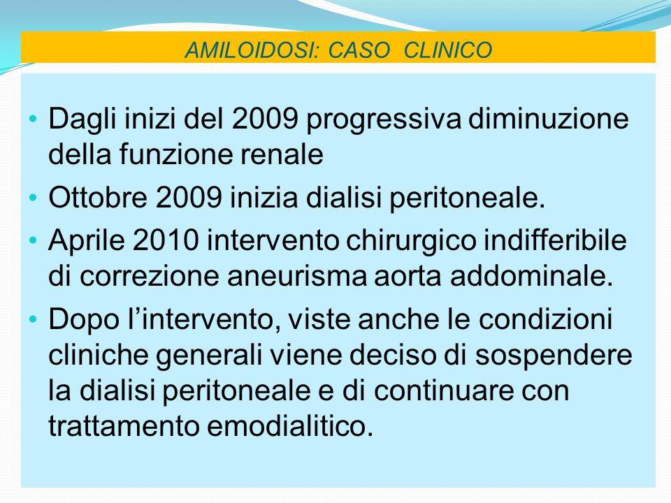 AMILOIDOSI: CASO CLINICO Dagli inizi del 2009 progressiva diminuzione della funzione renale Ottobre 2009 inizia dialisi peritoneale. Aprile 2010 inter