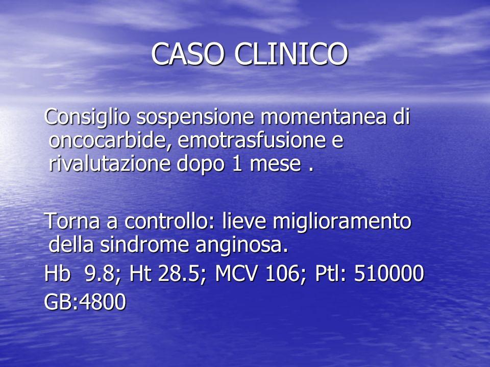 CASO CLINICO CASO CLINICO Consiglio sospensione momentanea di oncocarbide, emotrasfusione e rivalutazione dopo 1 mese. Consiglio sospensione momentane