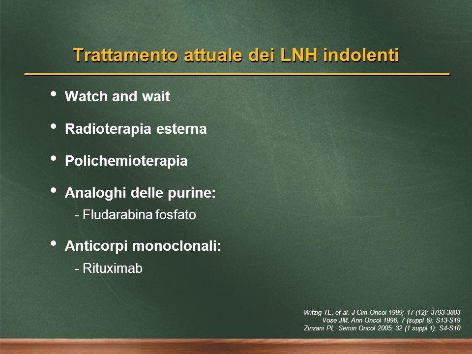 Trattamento attuale dei LNH indolenti Watch and wait Radioterapia esterna Polichemioterapia Analoghi delle purine: - Fludarabina fosfato Anticorpi mon