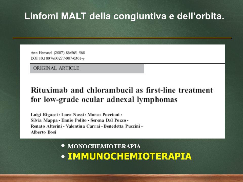 Linfomi MALT della congiuntiva e dellorbita. CRIOTERAPIA INTERFERONE IMMUNOTERAPIA MONOCHEMIOTERAPIA IMMUNOCHEMIOTERAPIA