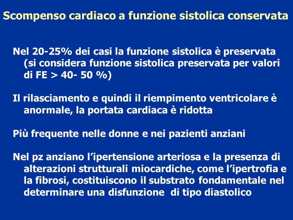 Scompenso cardiaco a funzione sistolica conservata Nel 20-25% dei casi la funzione sistolica è preservata (si considera funzione sistolica preservata