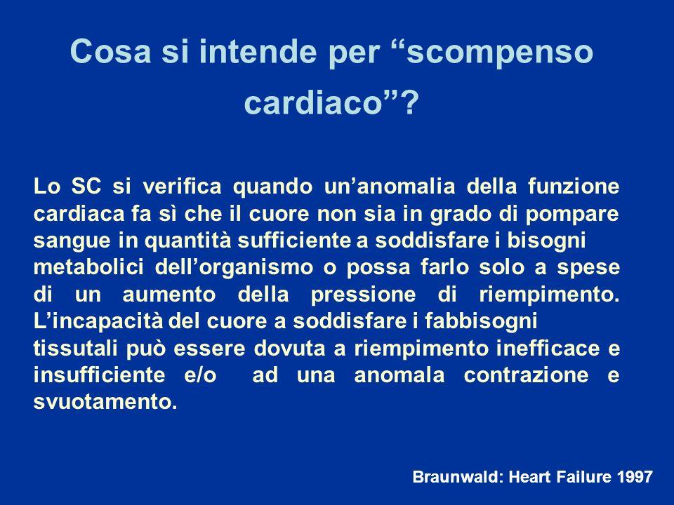 Lo SC si verifica quando unanomalia della funzione cardiaca fa sì che il cuore non sia in grado di pompare sangue in quantità sufficiente a soddisfare