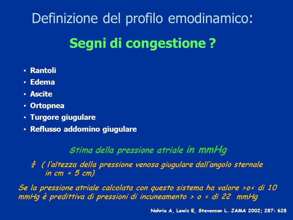 Definizione del profilo emodinamico : Segni di congestione ? Nohria A, Lewis E, Stevenson L. JAMA 2002; 287: 628 Rantoli Edema Ascite Ortopnea Turgore