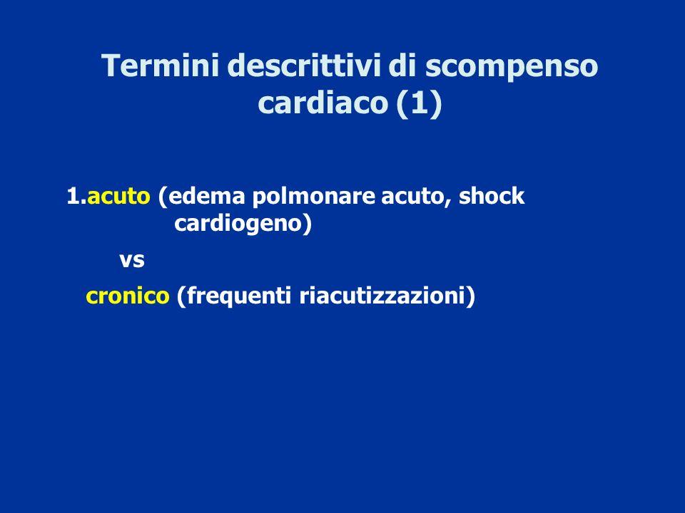 Termini descrittivi di scompenso cardiaco (1) 1.acuto (edema polmonare acuto, shock cardiogeno) vs cronico (frequenti riacutizzazioni)