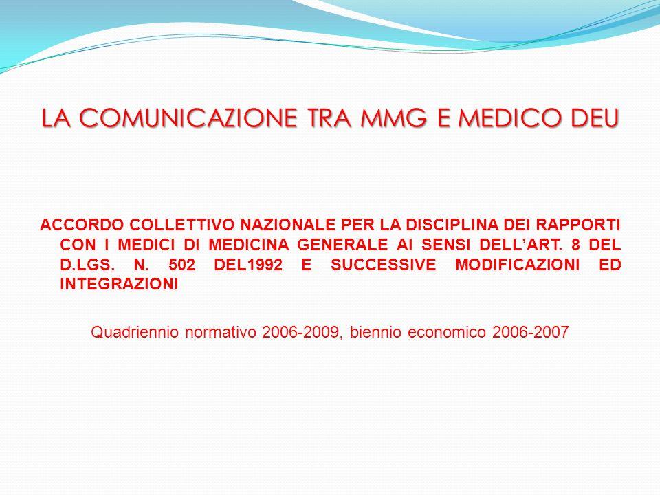 ART.49 – RAPPORTI TRA IL MEDICO DI FAMIGLIA E LOSPEDALE.