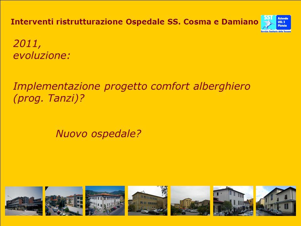2011, evoluzione: Interventi ristrutturazione Ospedale SS. Cosma e Damiano Implementazione progetto comfort alberghiero (prog. Tanzi)? Nuovo ospedale?
