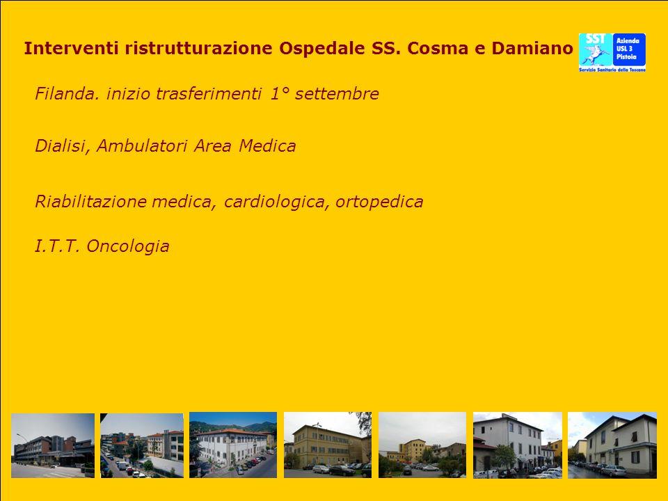 Interventi ristrutturazione Ospedale SS. Cosma e Damiano Filanda. inizio trasferimenti 1° settembre Dialisi, Ambulatori Area Medica Riabilitazione med