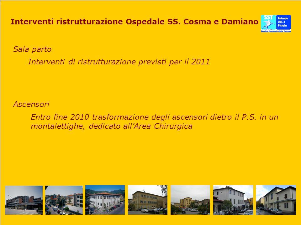 Sala parto Interventi ristrutturazione Ospedale SS. Cosma e Damiano Interventi di ristrutturazione previsti per il 2011 Ascensori Entro fine 2010 tras