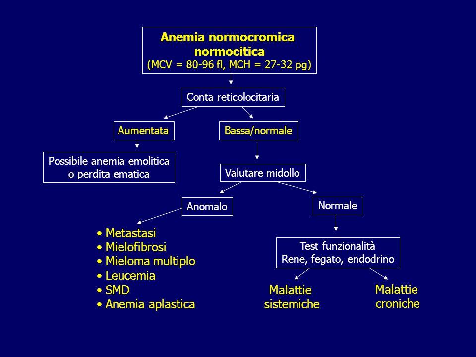 Anemia normocromica normocitica (MCV = 80-96 fl, MCH = 27-32 pg) Conta reticolocitaria AumentataBassa/normale Possibile anemia emolitica o perdita ema