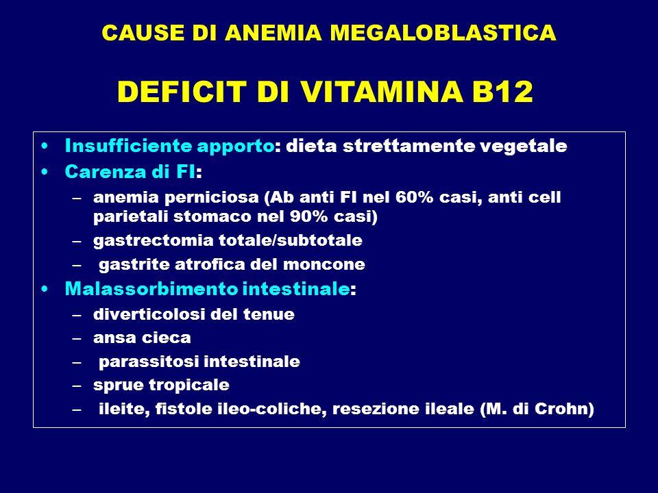 CAUSE DI ANEMIA MEGALOBLASTICA Insufficiente apporto: dieta strettamente vegetale Carenza di FI: –anemia perniciosa (Ab anti FI nel 60% casi, anti cel
