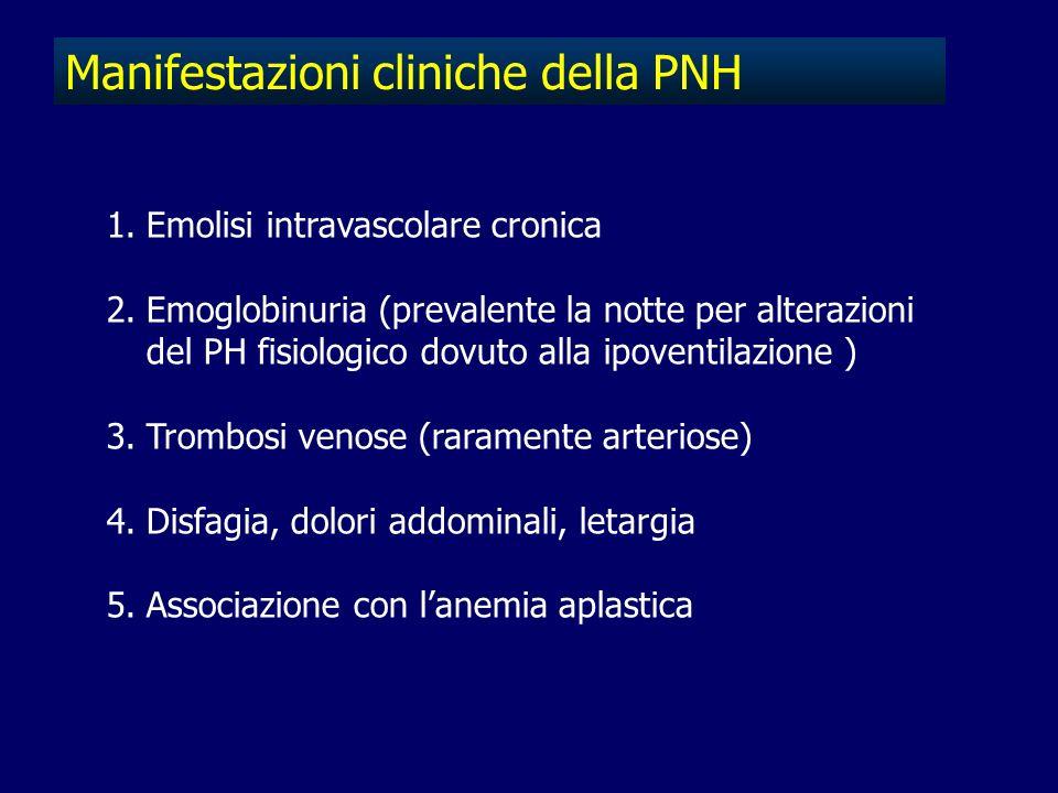 Manifestazioni cliniche della PNH 1.Emolisi intravascolare cronica 2.Emoglobinuria (prevalente la notte per alterazioni del PH fisiologico dovuto alla