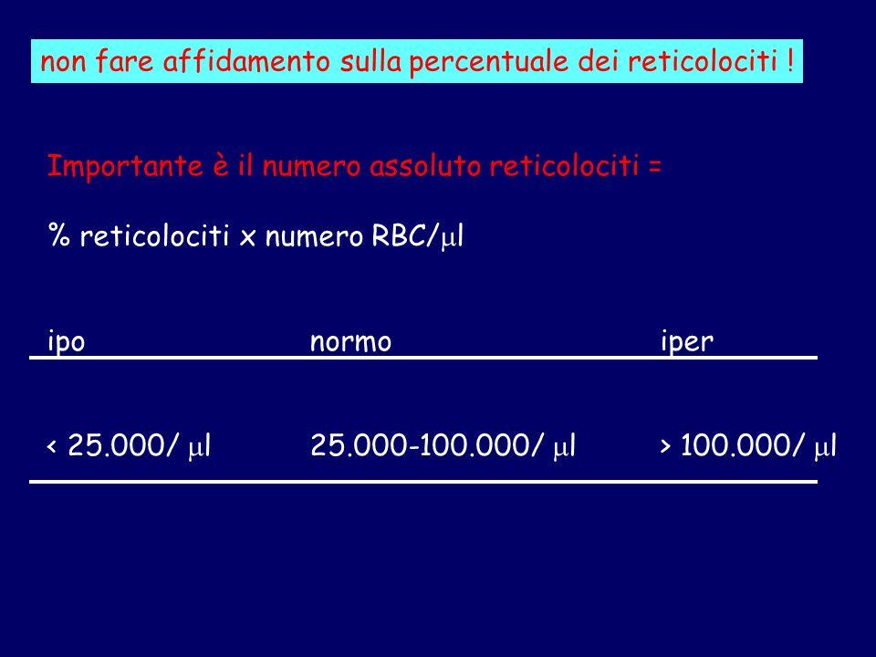 Importante è il numero assoluto reticolociti = % reticolociti x numero RBC/ l iponormoiper 100.000/ l non fare affidamento sulla percentuale dei retic