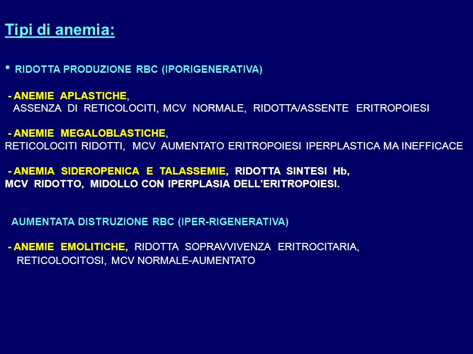 Anemia ipocromica microcitica (MCV < 80 fl, MCH < 27 pg) RDW Normale RDWAlto RDW Sideremia, TIBC, % sat.