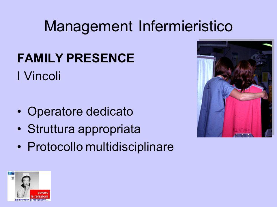 Management Infermieristico FAMILY PRESENCE I Vincoli Operatore dedicato Struttura appropriata Protocollo multidisciplinare