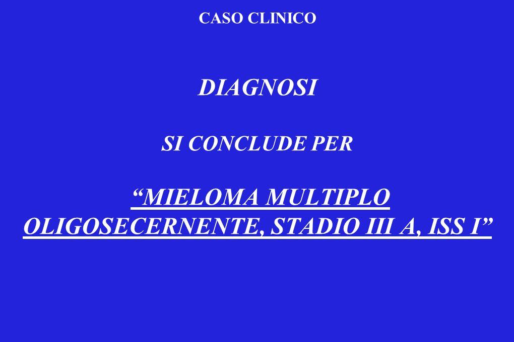 CASO CLINICO DIAGNOSI SI CONCLUDE PER MIELOMA MULTIPLO OLIGOSECERNENTE, STADIO III A, ISS I