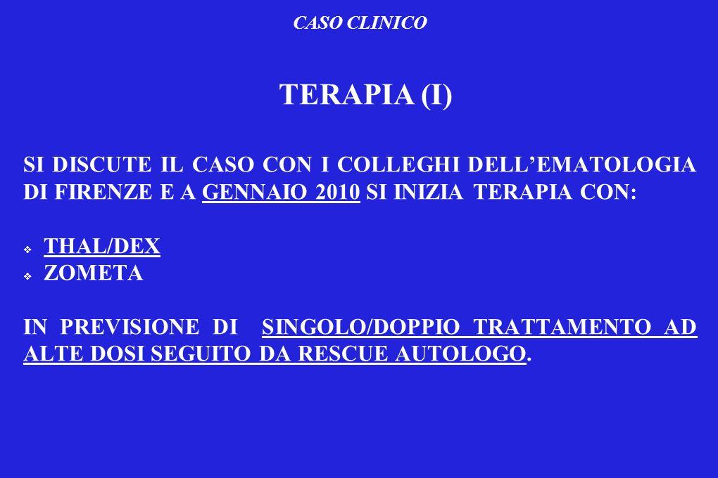 CASO CLINICO TERAPIA (I) SI DISCUTE IL CASO CON I COLLEGHI DELLEMATOLOGIA DI FIRENZE E A GENNAIO 2010 SI INIZIA TERAPIA CON: THAL/DEX ZOMETA IN PREVIS