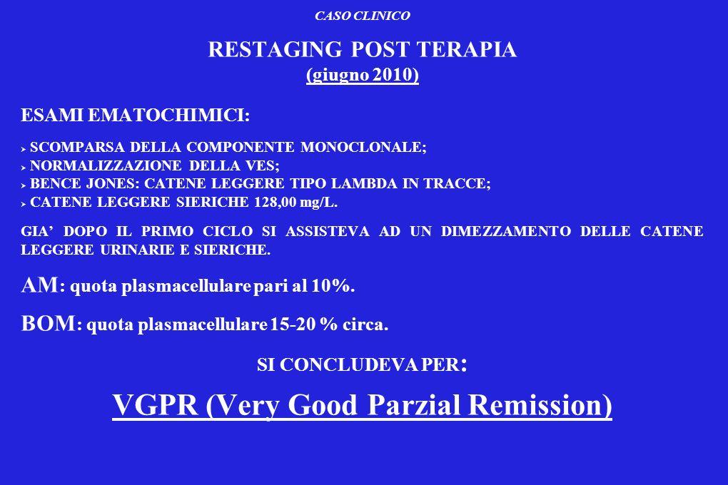 CASO CLINICO RESTAGING POST TERAPIA (giugno 2010) ESAMI EMATOCHIMICI: SCOMPARSA DELLA COMPONENTE MONOCLONALE; NORMALIZZAZIONE DELLA VES; BENCE JONES: