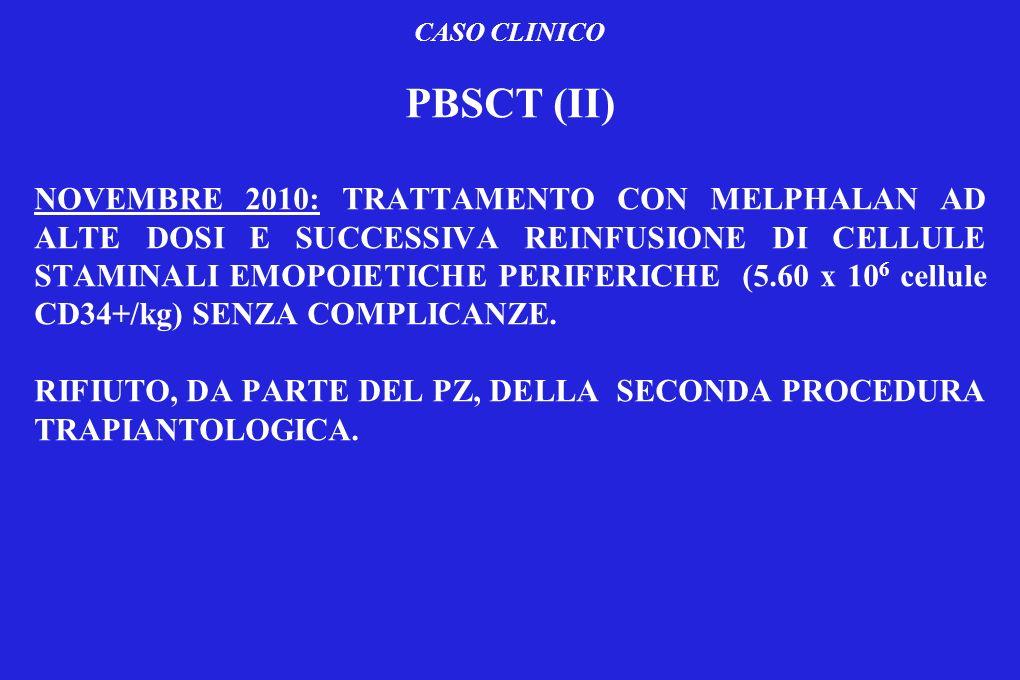 CASO CLINICO PBSCT (II) NOVEMBRE 2010: TRATTAMENTO CON MELPHALAN AD ALTE DOSI E SUCCESSIVA REINFUSIONE DI CELLULE STAMINALI EMOPOIETICHE PERIFERICHE (