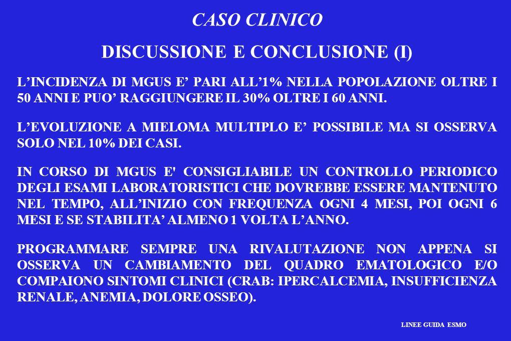 CASO CLINICO DISCUSSIONE E CONCLUSIONE (I) LINCIDENZA DI MGUS E PARI ALL1% NELLA POPOLAZIONE OLTRE I 50 ANNI E PUO RAGGIUNGERE IL 30% OLTRE I 60 ANNI.