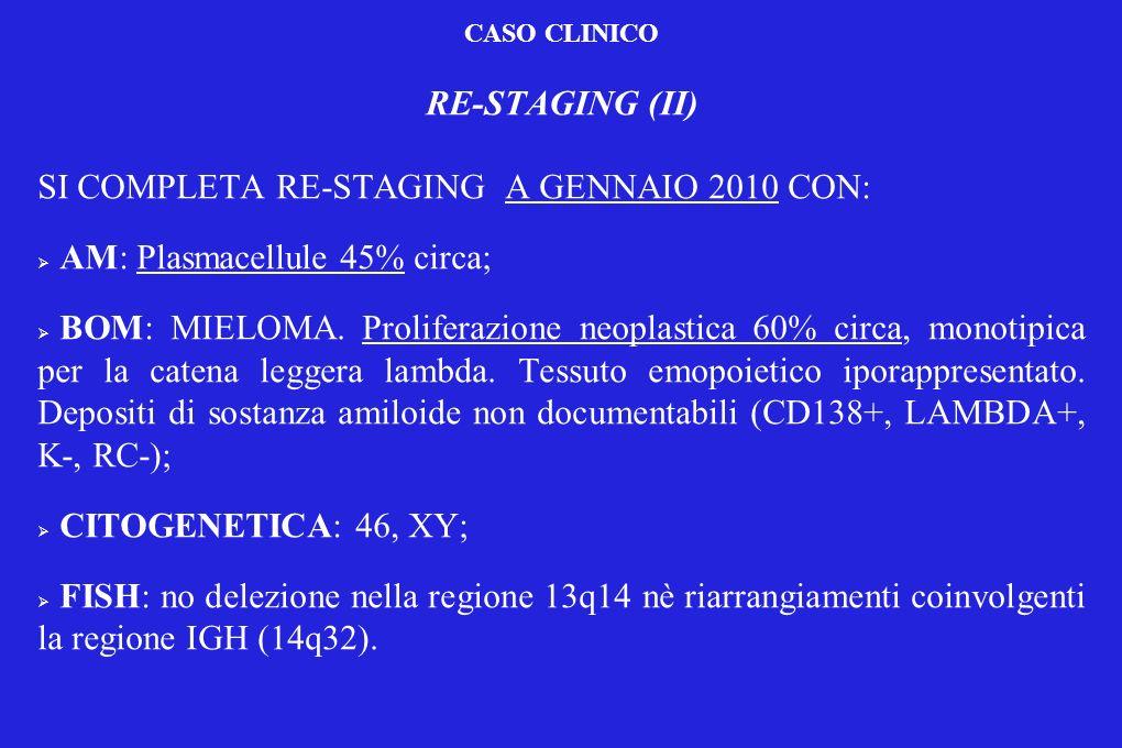 CASO CLINICO RE-STAGING (II) SI COMPLETA RE-STAGING A GENNAIO 2010 CON: AM: Plasmacellule 45% circa; BOM: MIELOMA. Proliferazione neoplastica 60% circ