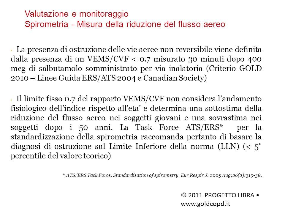 Valutazione e monitoraggio Spirometria - Misura della riduzione del flusso aereo © 2011 PROGETTO LIBRA www.goldcopd.it La presenza di ostruzione delle