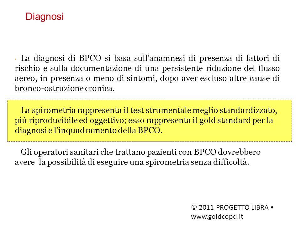 Va sempre presa in considerazione una diagnosi clinica di BPCO in pazienti che si presentino con dispnea, tosse e/o espettorato cronici, e/o esposizione a fattori di rischio indispensabile Lesame spirometrico è indispensabile per poter porre diagnosi di BPCO un VEMS/CVF< 0,70 conferma la presenza di ostruzione bronchiale e quindi conferma la diagnosi di BPCO Progetto mondiale per la diagnosi, trattamento e prevenzione della BPCO 2011: Diagnosi e valutazione di gravità