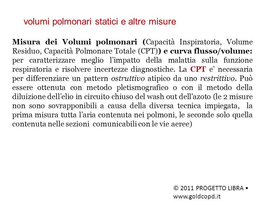 volumi polmonari statici e altre misure © 2011 PROGETTO LIBRA www.goldcopd.it Misura dei Volumi polmonari (Capacità Inspiratoria, Volume Residuo, Capa
