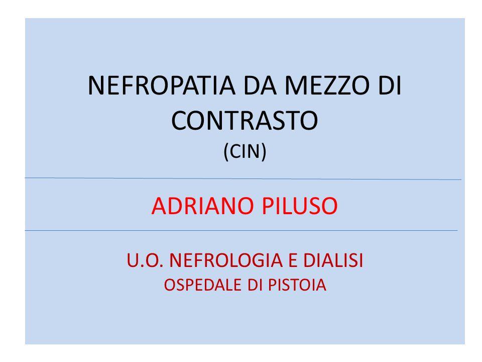 NEFROPATIA DA MEZZO DI CONTRASTO (CIN) ADRIANO PILUSO U.O. NEFROLOGIA E DIALISI OSPEDALE DI PISTOIA