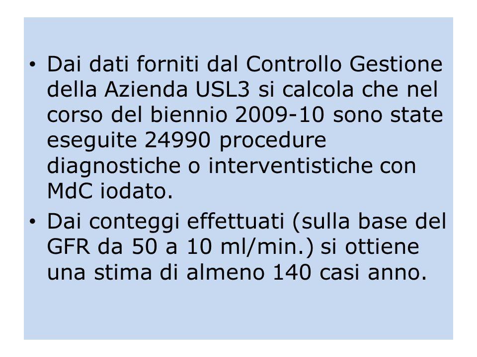 Dai dati forniti dal Controllo Gestione della Azienda USL3 si calcola che nel corso del biennio 2009-10 sono state eseguite 24990 procedure diagnostic
