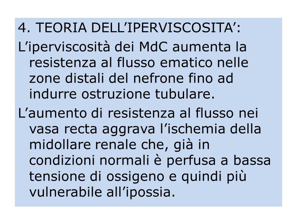 4. TEORIA DELLIPERVISCOSITA: Liperviscosità dei MdC aumenta la resistenza al flusso ematico nelle zone distali del nefrone fino ad indurre ostruzione