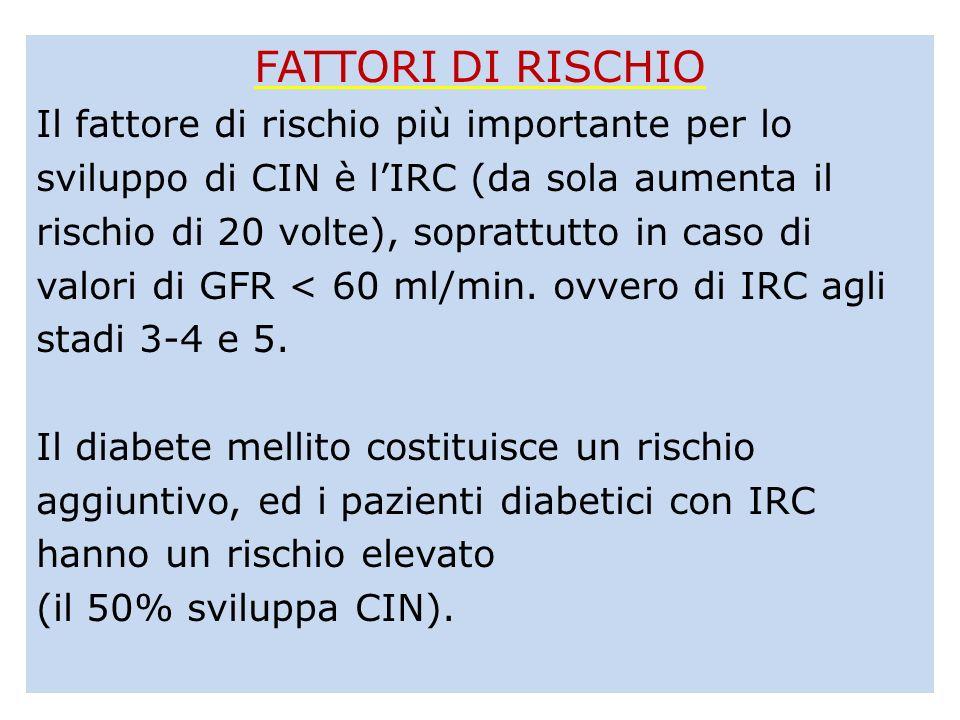 FATTORI DI RISCHIO Il fattore di rischio più importante per lo sviluppo di CIN è lIRC (da sola aumenta il rischio di 20 volte), soprattutto in caso di