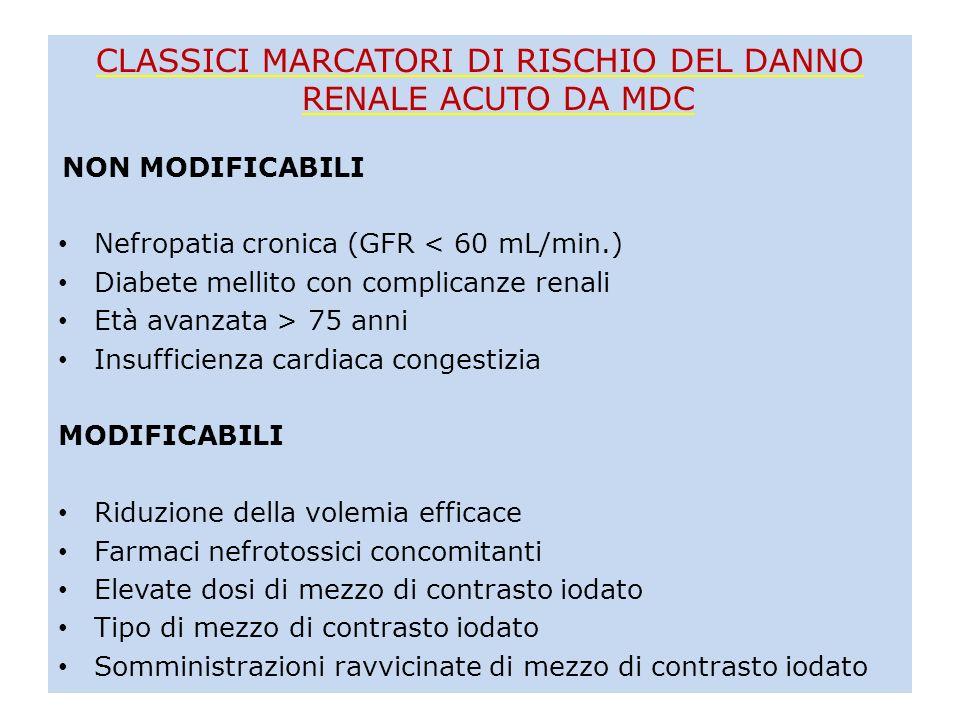 CLASSICI MARCATORI DI RISCHIO DEL DANNO RENALE ACUTO DA MDC NON MODIFICABILI Nefropatia cronica (GFR < 60 mL/min.) Diabete mellito con complicanze ren