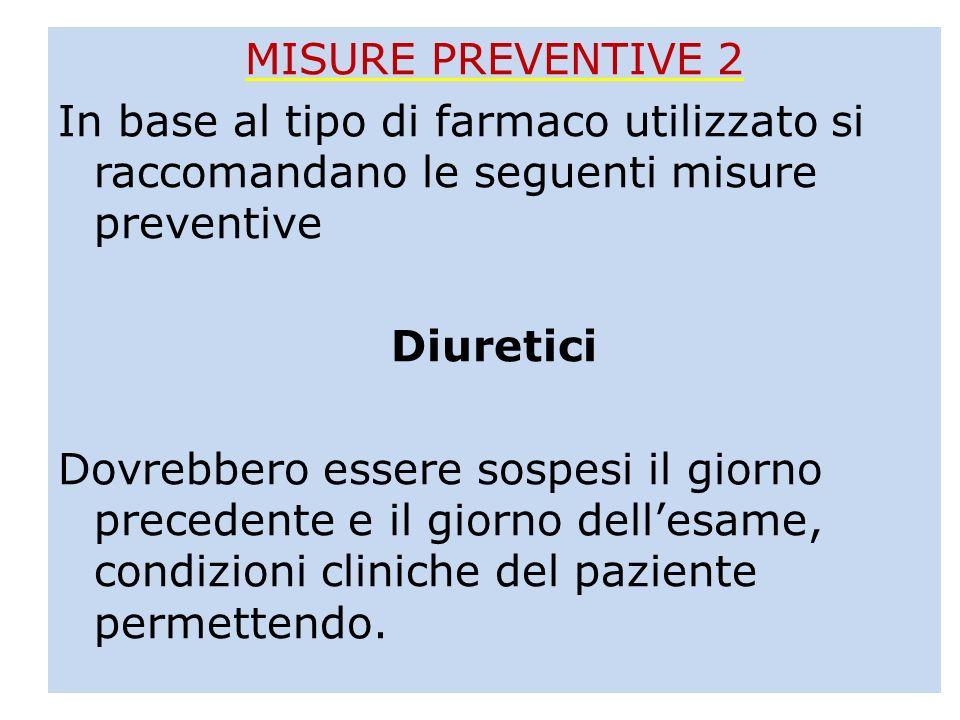 MISURE PREVENTIVE 2 In base al tipo di farmaco utilizzato si raccomandano le seguenti misure preventive Diuretici Dovrebbero essere sospesi il giorno