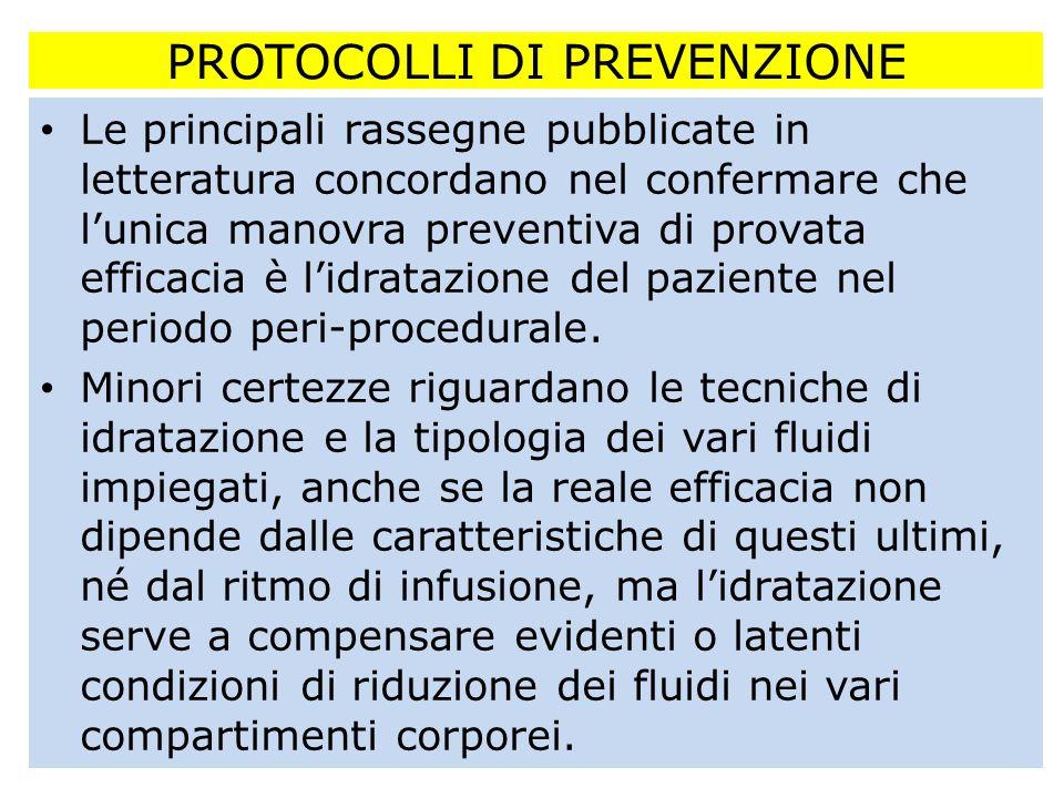 PROTOCOLLI DI PREVENZIONE Le principali rassegne pubblicate in letteratura concordano nel confermare che lunica manovra preventiva di provata efficaci