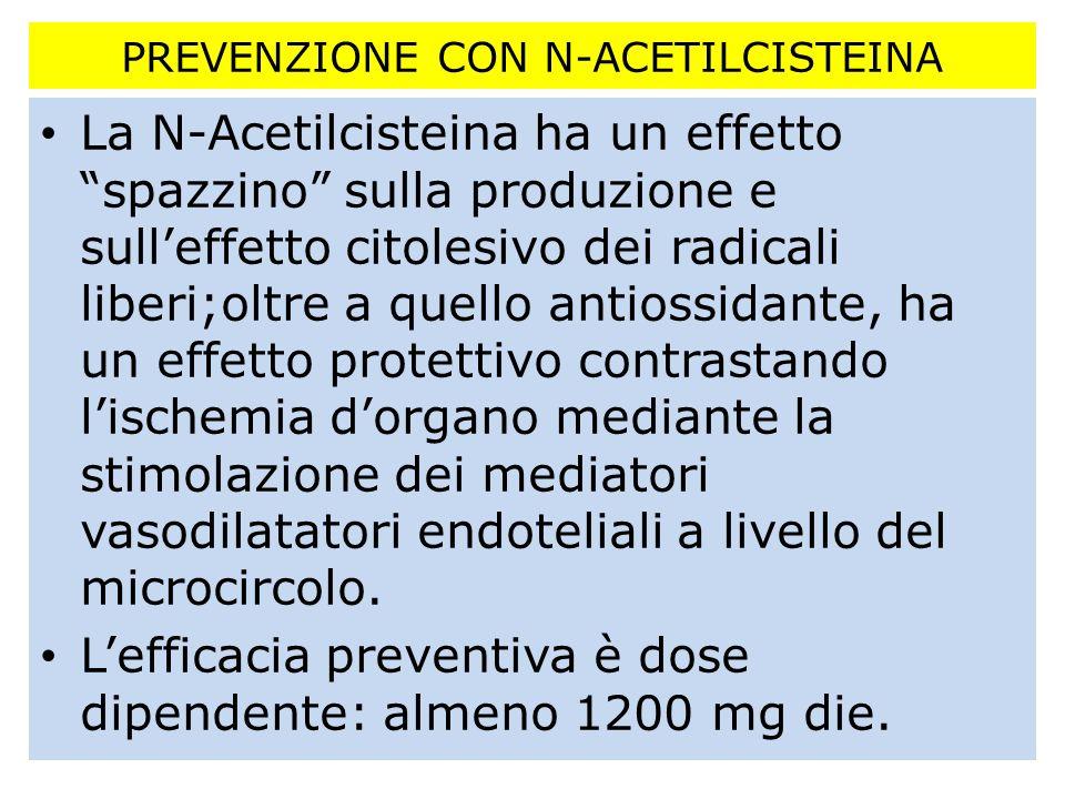 PREVENZIONE CON N-ACETILCISTEINA La N-Acetilcisteina ha un effetto spazzino sulla produzione e sulleffetto citolesivo dei radicali liberi;oltre a quel
