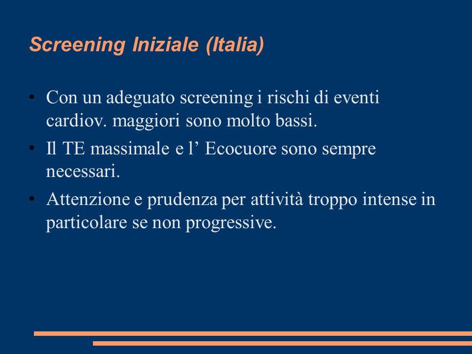 Screening Iniziale (Italia) Con un adeguato screening i rischi di eventi cardiov. maggiori sono molto bassi. Il TE massimale e l Ecocuore sono sempre