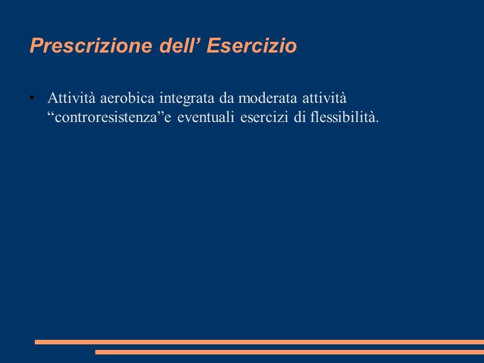 Prescrizione dell Esercizio Attività aerobica integrata da moderata attività controresistenzae eventuali esercizi di flessibilità.