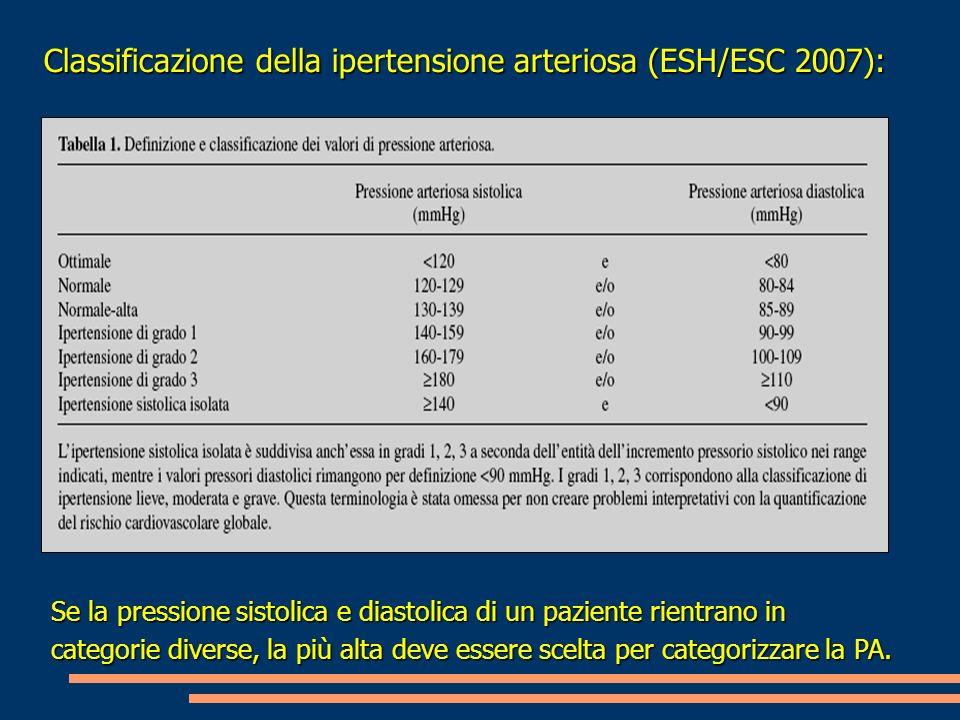 Classificazione della ipertensione arteriosa (ESH/ESC 2007): Se la pressione sistolica e diastolica di un paziente rientrano in categorie diverse, la