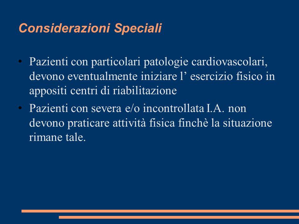 Considerazioni Speciali Pazienti con particolari patologie cardiovascolari, devono eventualmente iniziare l esercizio fisico in appositi centri di ria