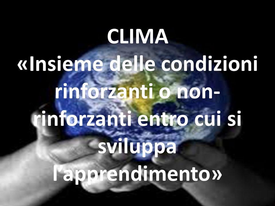 CLIMA «Insieme delle condizioni rinforzanti o non- rinforzanti entro cui si sviluppa lapprendimento»