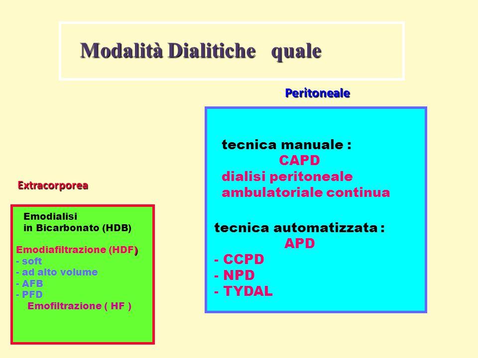 Modalità Dialitiche quale Extracorporea Emodialisi in Bicarbonato (HDB) ) Emodiafiltrazione (HDF) - soft - ad alto volume - AFB - PFD Emofiltrazione (