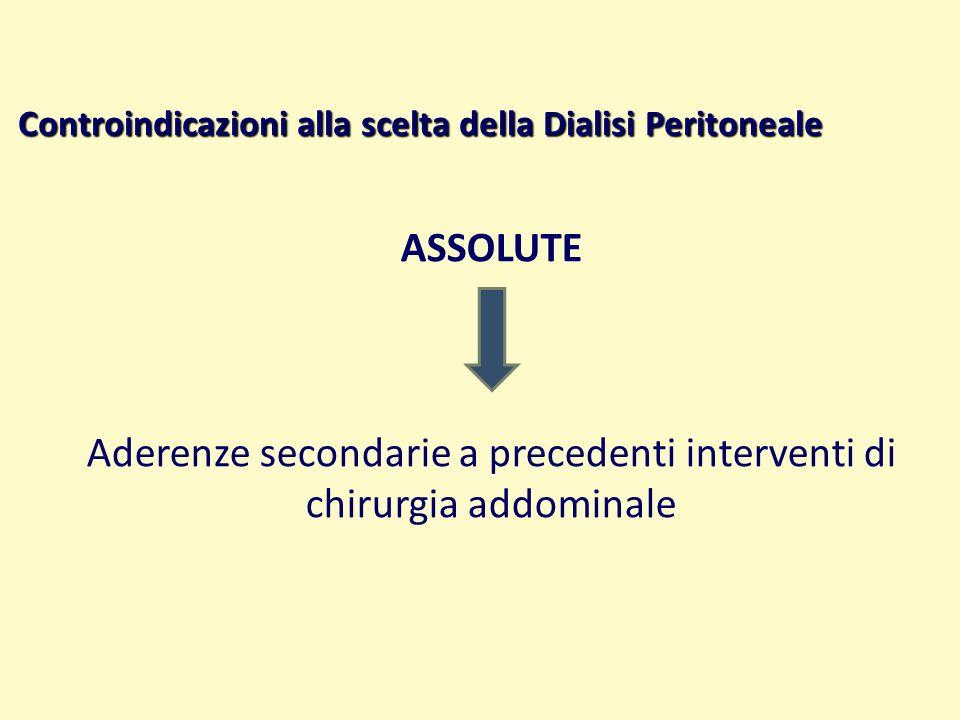Controindicazioni alla scelta della Dialisi Peritoneale ASSOLUTE Aderenze secondarie a precedenti interventi di chirurgia addominale