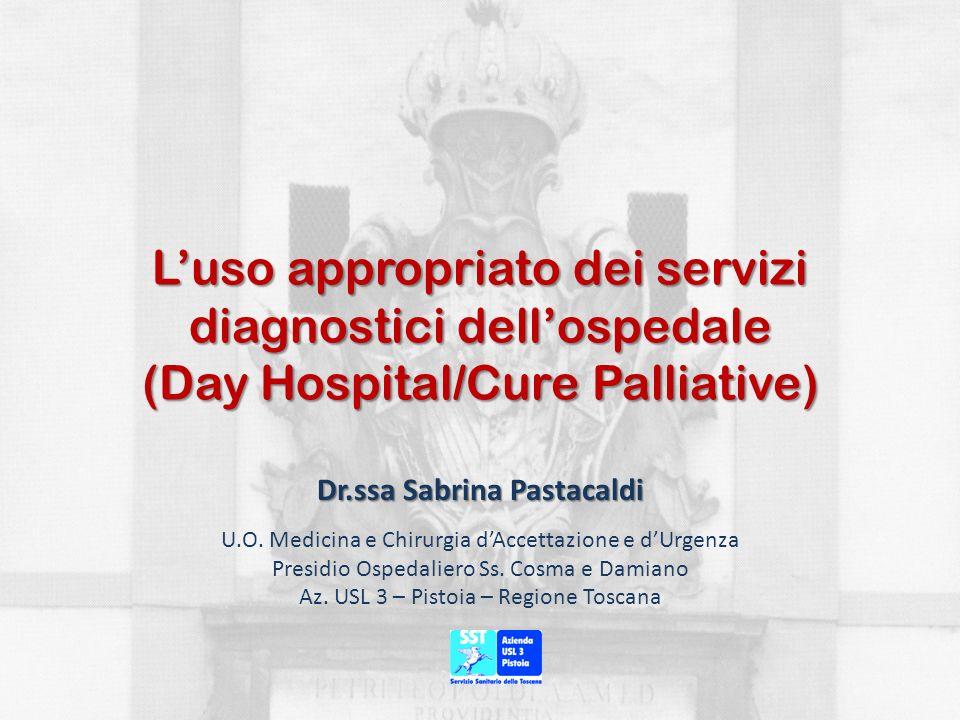 Luso appropriato dei servizi diagnostici dellospedale (Day Hospital/Cure Palliative) Dr.ssa Sabrina Pastacaldi U.O. Medicina e Chirurgia dAccettazione