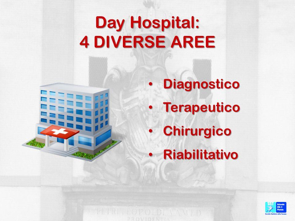Day Hospital: 4 DIVERSE AREE Diagnostico Diagnostico Terapeutico Terapeutico Chirurgico Chirurgico Riabilitativo Riabilitativo