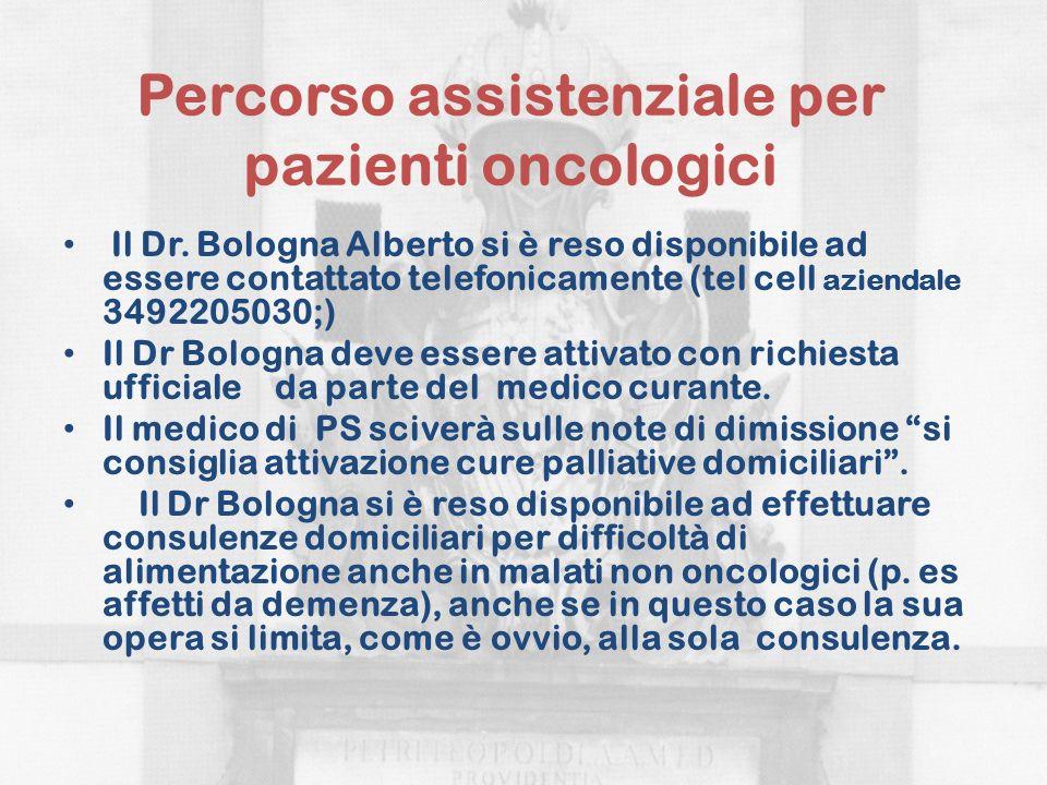 Percorso assistenziale per pazienti oncologici Il Dr. Bologna Alberto si è reso disponibile ad essere contattato telefonicamente (tel cell aziendale 3