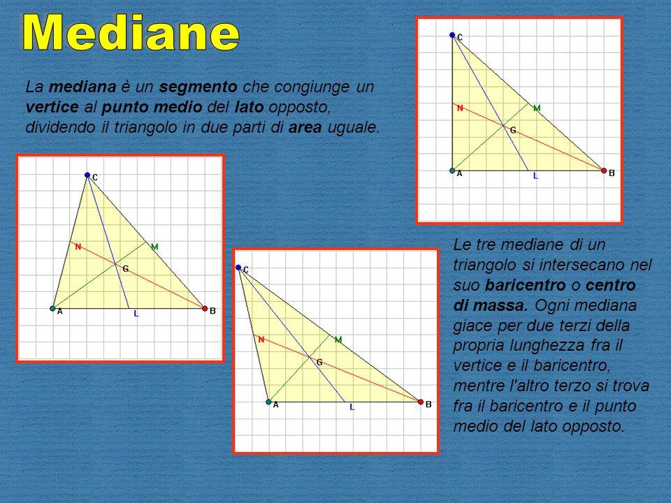 La mediana è un segmento che congiunge un vertice al punto medio del lato opposto, dividendo il triangolo in due parti di area uguale. Le tre mediane