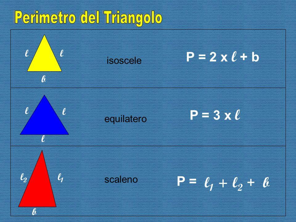 b ll l l l b l1l1 l2l2 isoscele scaleno equilatero P = 2 x l + b P = 3 x l P = l 1 +l2l2 + b